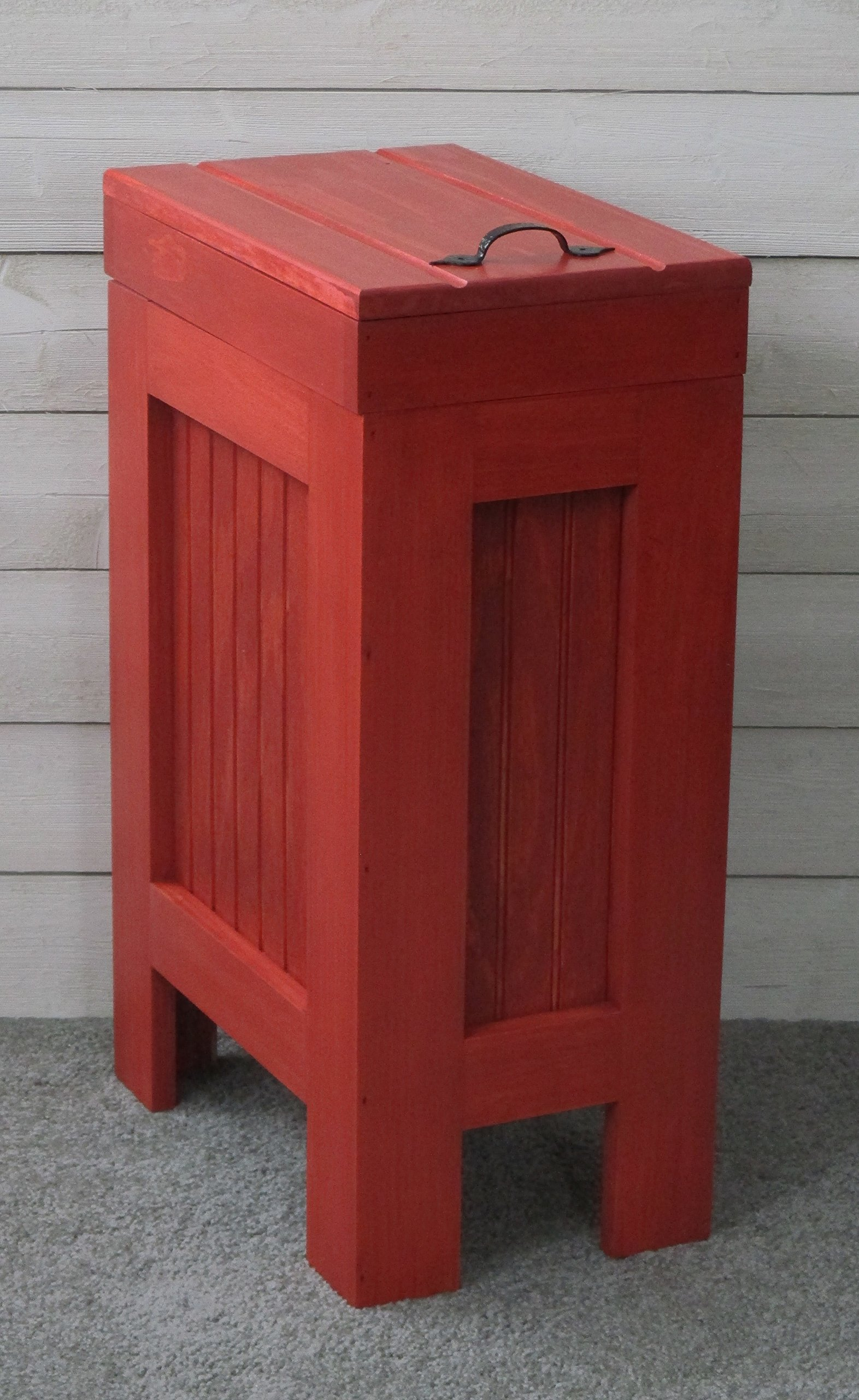 Rustic Wood Trash Bin, Kitchen Trash Can, Wood Trash Can, Dog food storage, 13 Gallon , Recycle Bin, Red Stain with Metal Handle - Handmade in USA By BuffaloWoodshop by BuffaloWood Shop (Image #1)