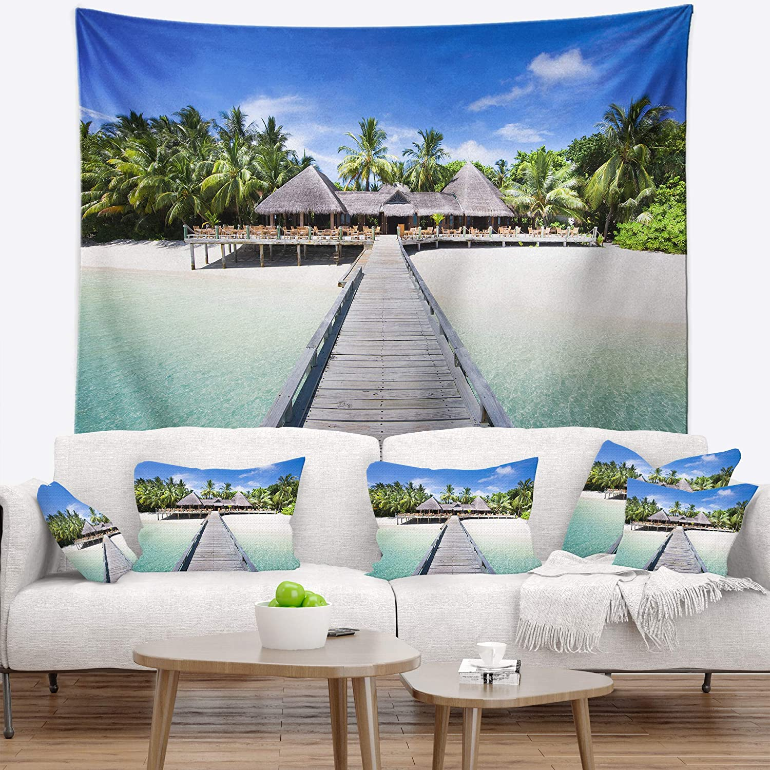 Designart TAP8629-80-68  Beach with Coconut Palm Trees Landscape Photo Blanket D/écor Art for Home and Office Wall Tapestry x Large 80 in x 68 in Created On Lightweight Polyester Fabric