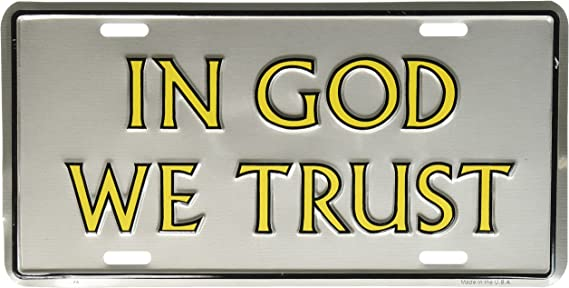 Automotive License Plate Frame Chrome Plated License Plate Cover in God We Trust License Plate Zinc Cover Jesus God License Plate Frame Cover Holder