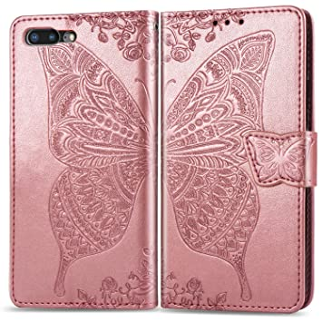 #2 Rose Gold iPhone 6 // 6S Case Wrist Strap Bear Village/® Embossing Butterfly PU Wallet Case for Apple iPhone 6 // 6S with Kickstand Function Credit Card Slots