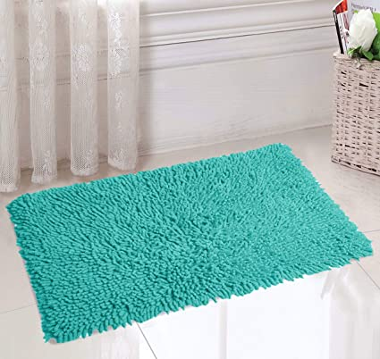 Saral Home Soft Cotton Anti Slip Saggy Bathmat (Turquoise, 40x60cm)