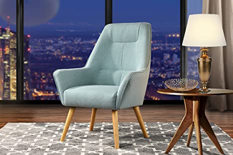Superb Accent Chair For Living Room Upholstered Linen Arm Chairs With Natural Wooden Legs Light Blue Bralicious Painted Fabric Chair Ideas Braliciousco