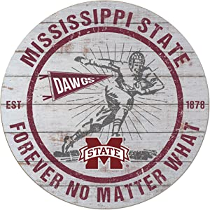 "KH Sports Fan 20""x20"" Mississippi State Bulldogs Throwback Weathered Circle, Multi"