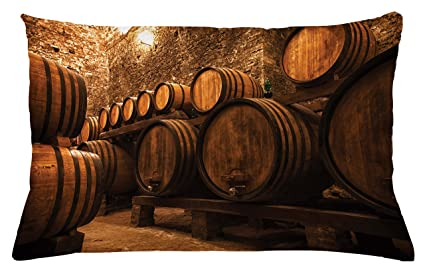 Lunarable Winery Throw Pillow Cushion Cover, Barrels For Storage Of Wine  Italy Oak Container In