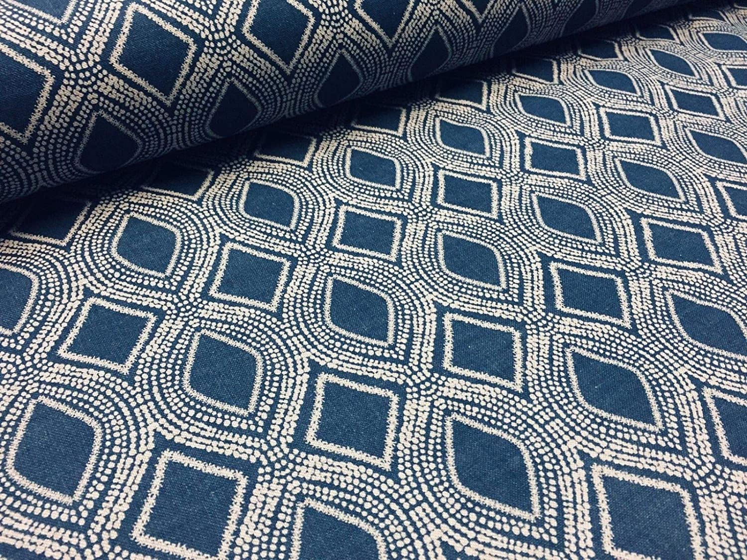 Art Deco Damask Floral Fabric Curtain Upholstery Linen look Navy Blue & Cream SAMPLE 10cm x 10cm