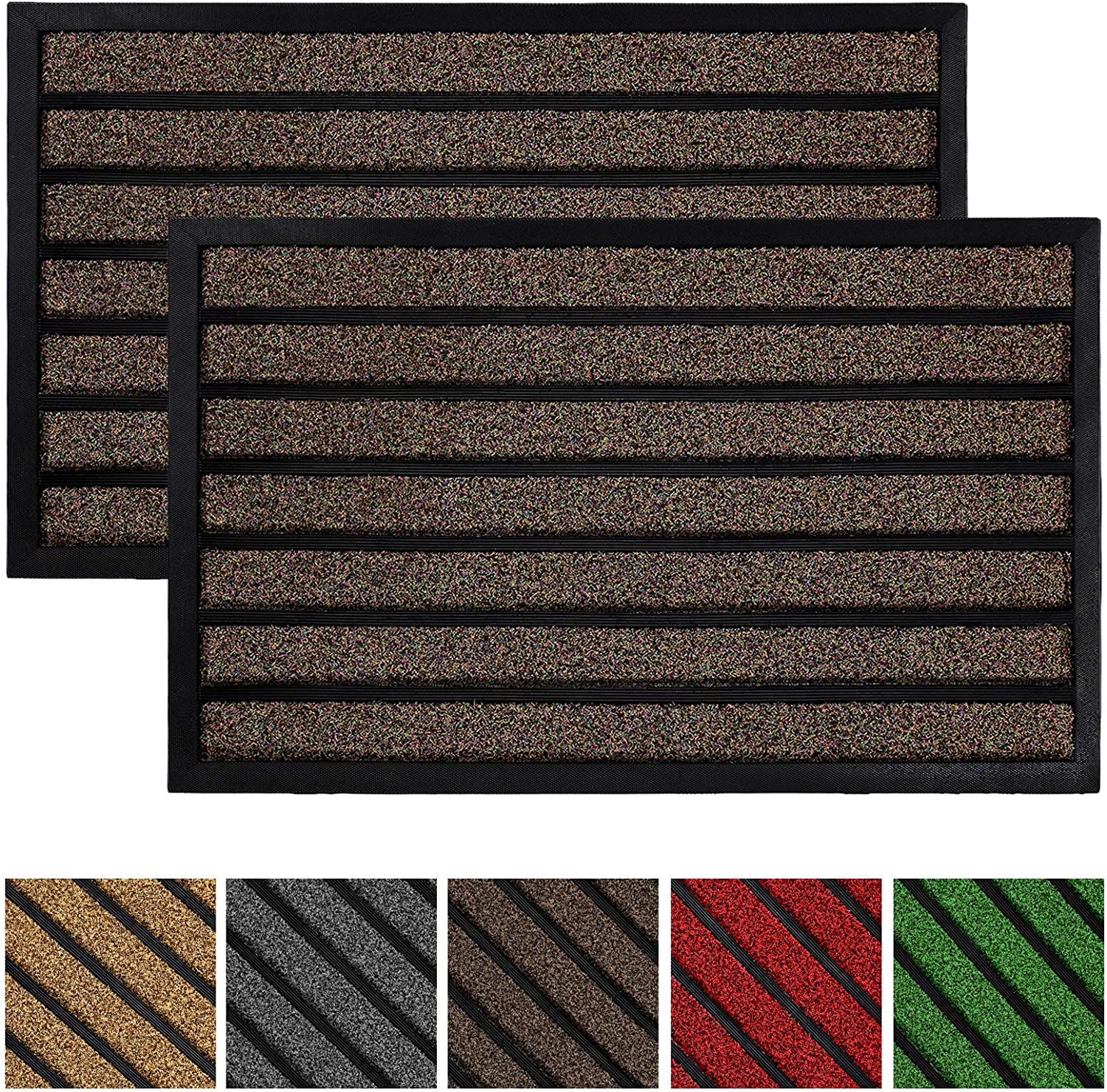 2-Pack Original Durable Striped Door Mat