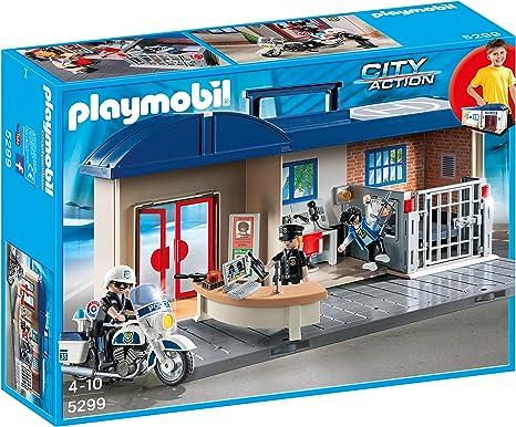 PLAYMOBIL - Estación de Policía Maletín (52990): Amazon.es: Juguetes y juegos
