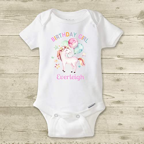 6615a20c Amazon.com: Baby Girl Birthday Onesie ®, PERSONALIZED Unicorn Birthday  Bodysuit, Toddler Girl Unicorn Shirt, Custom First Birthday Outfit: Handmade