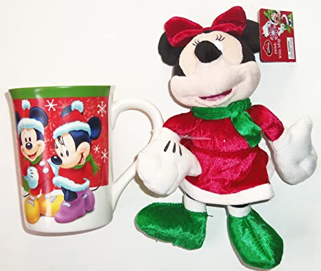 Christmas Minnie Mouse Plush.Disney Minnie And Mickey Mouse Christmas Coffee Mug Cup Ceramic Minnie Plush Toy