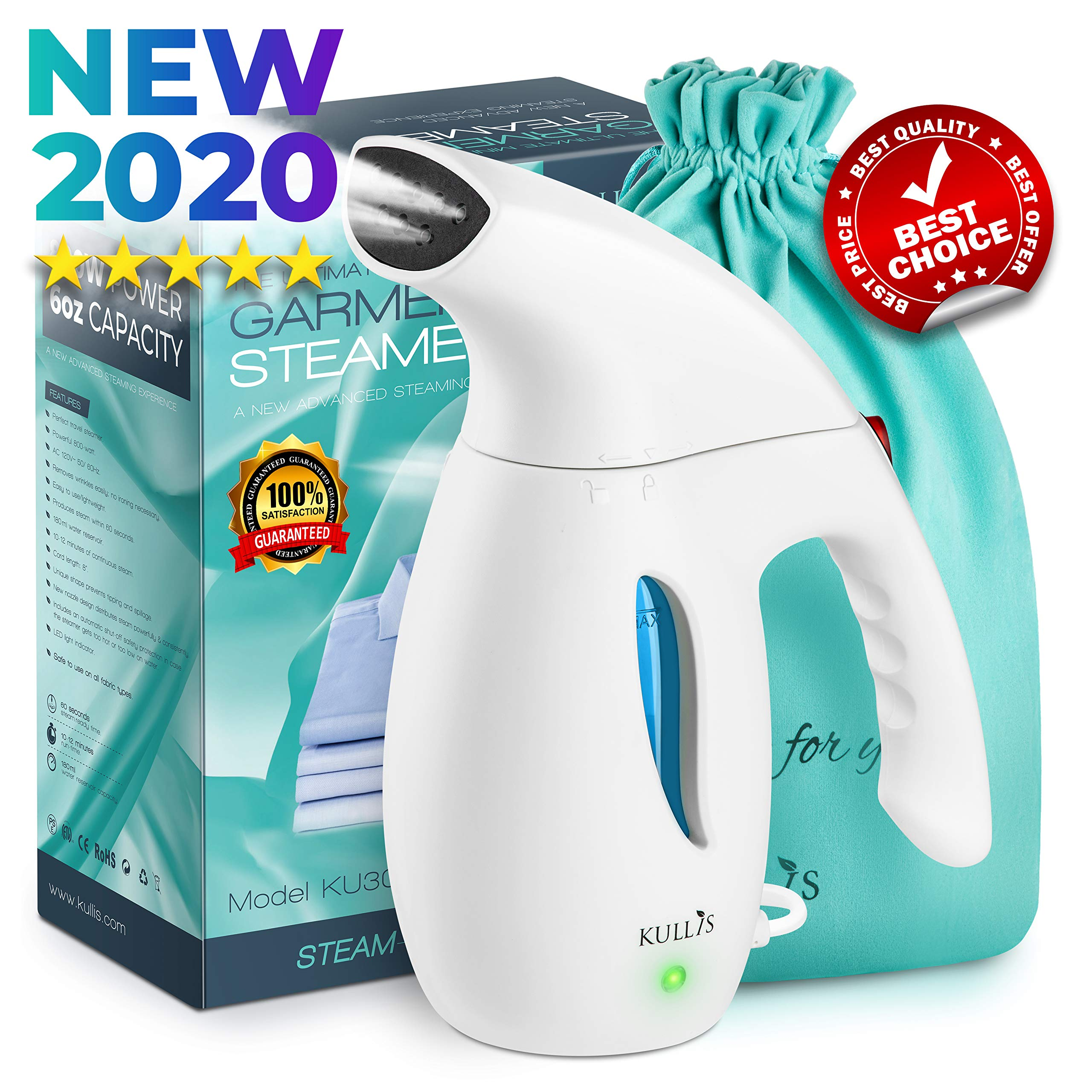 KULLIS Premium [New-Upgraded] - Premium Steamer for Clothes, Clothes Steamer, Portable Handheld Clothing Steamer. 8-in-1 Hand Travel Fabric Steamer, Home Wrinkle Remover, Garment Iron Steamer by KULLIS