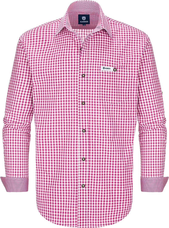 ALMBOCK Trachtenhemd hellblau Herren kariertSlim-fit Männer Hemd hellblau