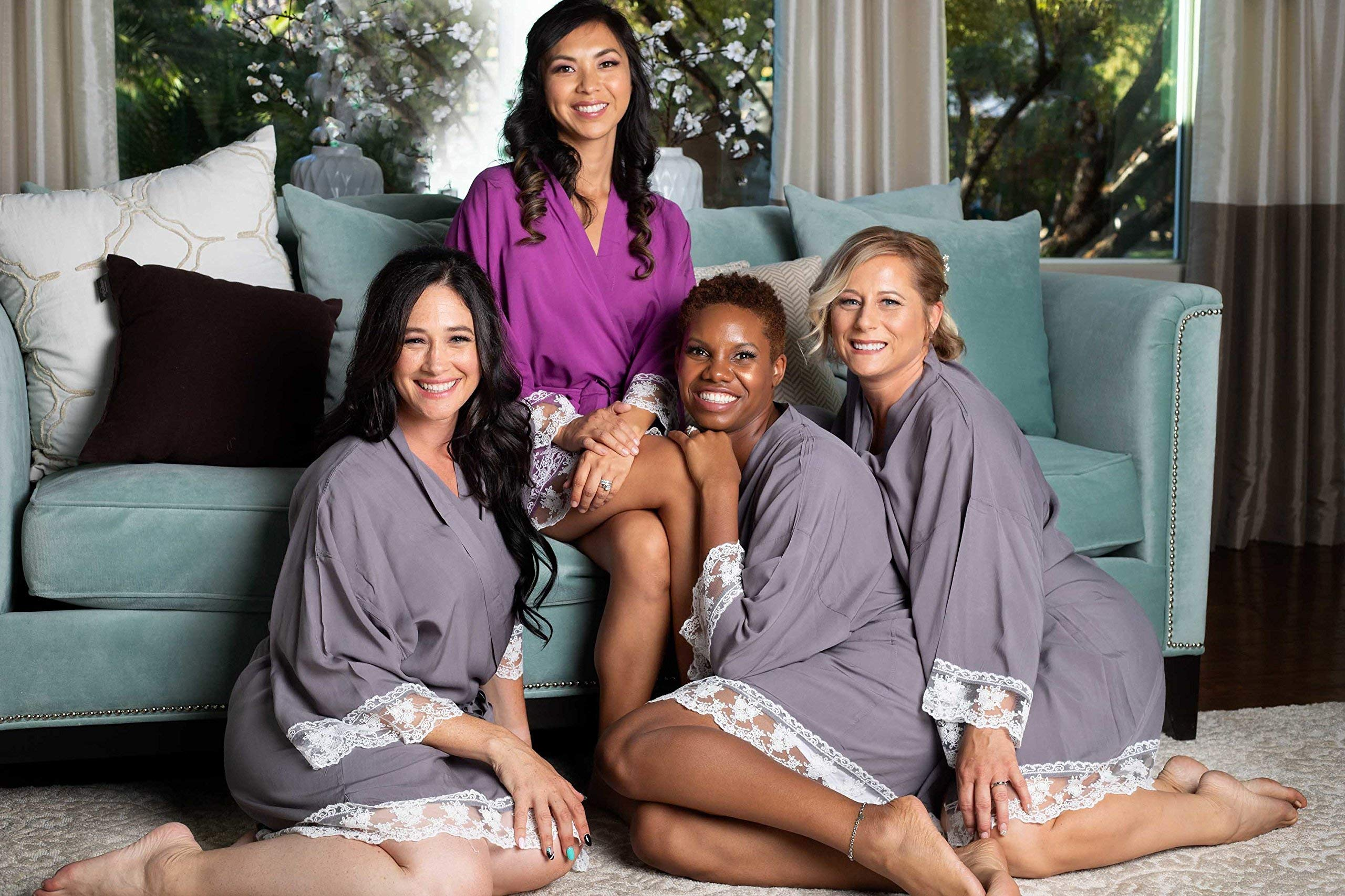 Grey Cotton Bridesmaid Robes With White Lace Trim