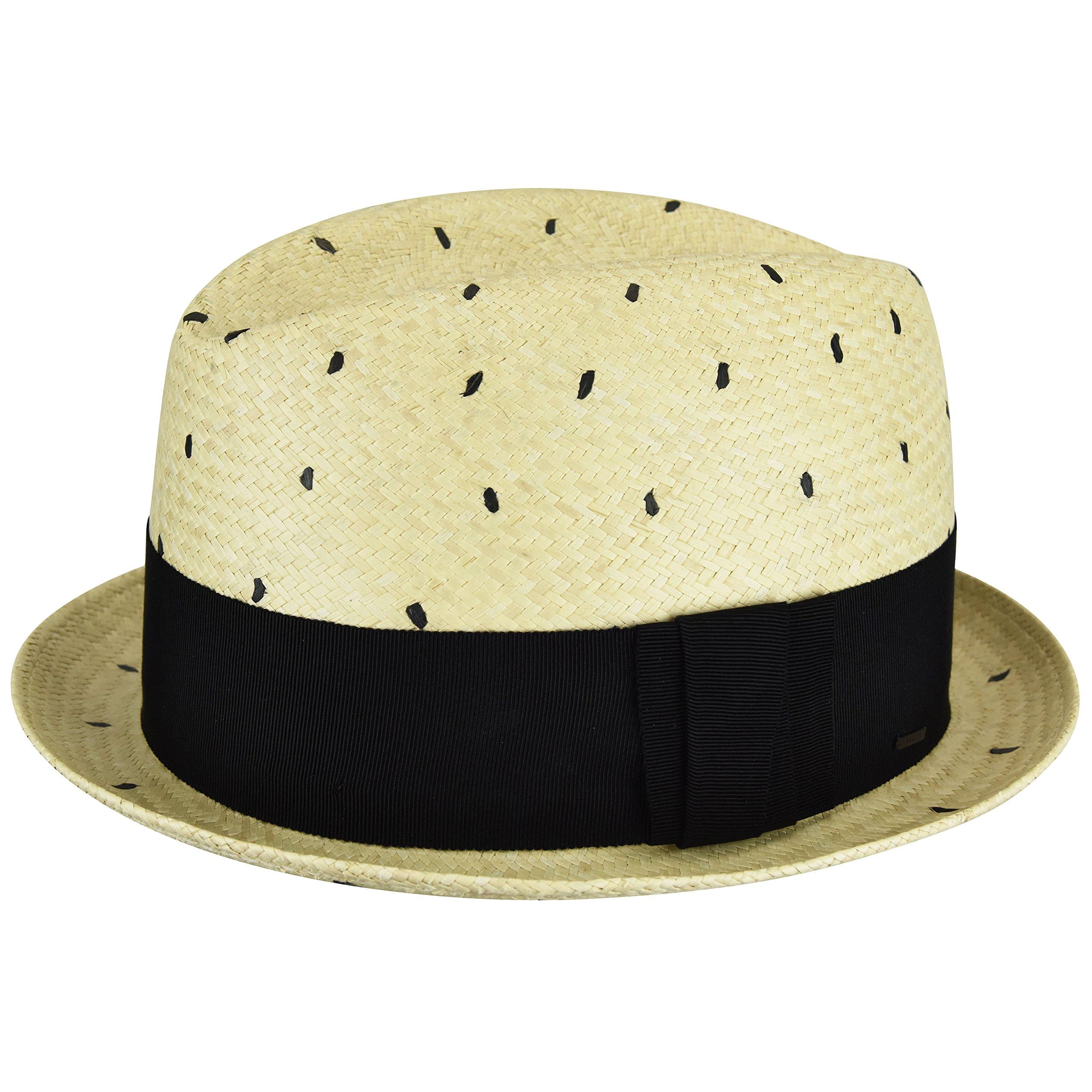 Bailey Of Hollywood Male Male Tor Short Panama Fedora Natural/Black Dot M Natural/Black Dot M
