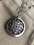 """Diffuser Necklace Essential Oils pendant with 24"""" chain 5 washable pads, aromatherapy Antique Silver Sun Catcher Tangled round locket 1.25"""""""
