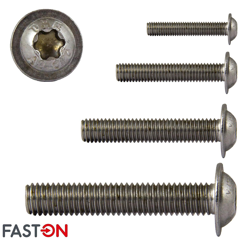 FASTON Tornillos de cabeza plana con brida y hex/ágono interior 10 unidades M3x3 de acero inoxidable A2 V2A TORX