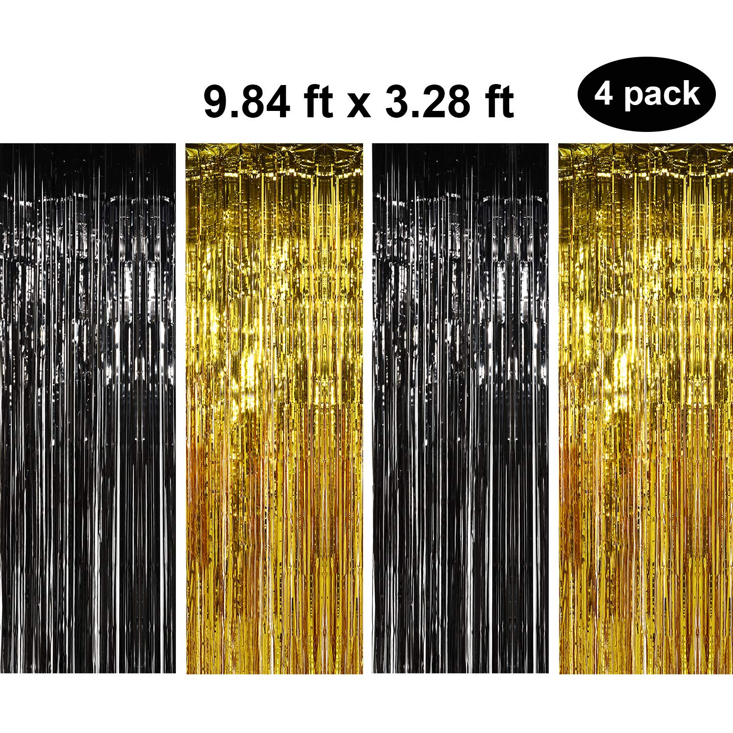 4 Packs 3.28 x 9.84 Feet Metallic Fringe Curtains Door Foil Curtains Metallic Curtains Party Tinsel Curtains for Photo Backdrops Party Decorations (Gold and Black)