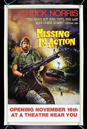 Marvelous MISSING IN ACTION * CineMasterpieces CHUCK NORRIS VIETNAM MACHINE GUN  ORIGINAL MOVIE POSTER