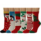Fuzzy and Soft Holiday Christmas Slipper Gift Socks, 6 Pack, Size 9-11.
