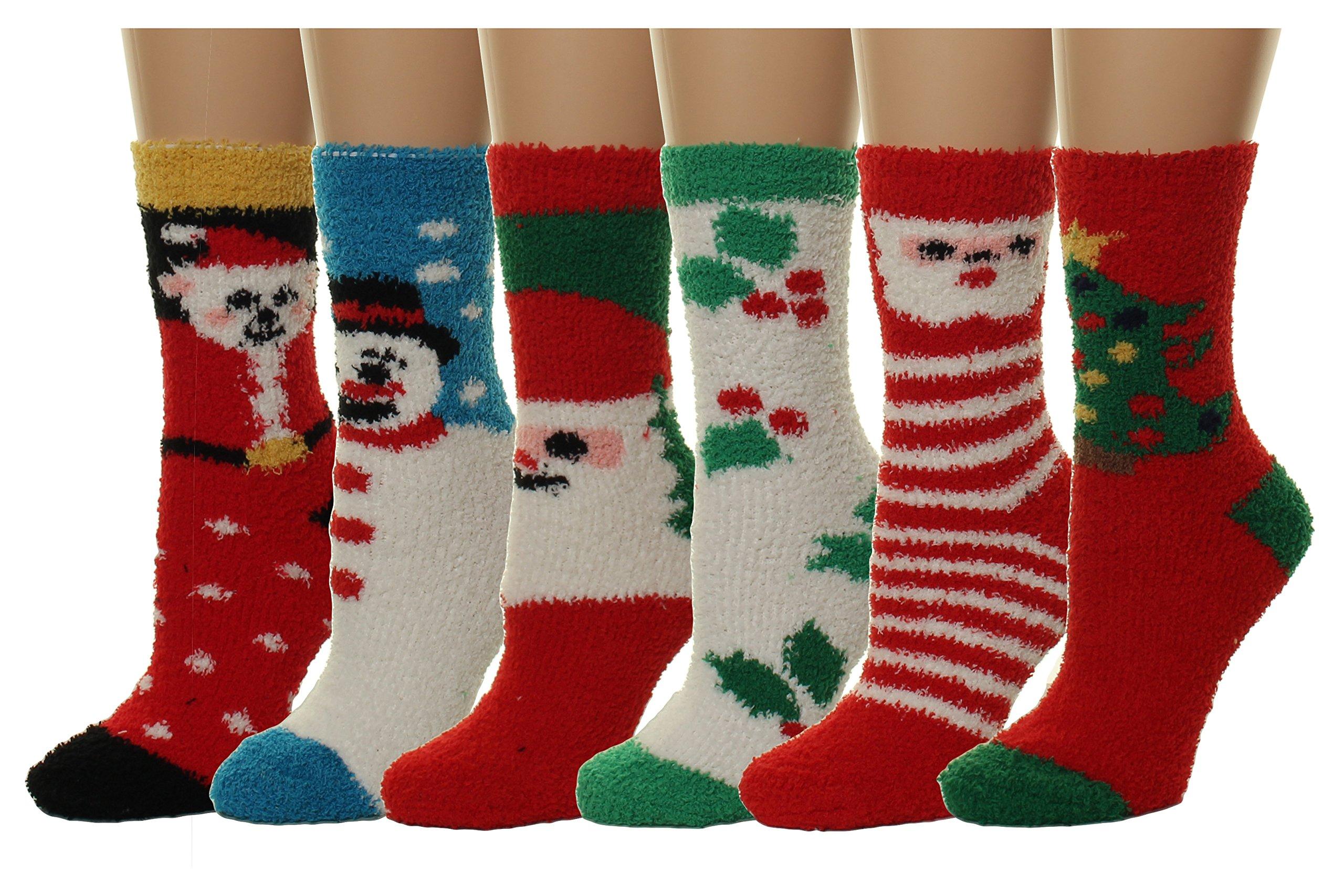 Gilbin's 6 Pairs Women's Supersoft Fuzzy Socks. Size: 9-11 X-mas Holiday Socks