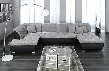 Wohnlandschaft Farus Couchgarnitur Xxl Sofa U Form Schwarz Grau
