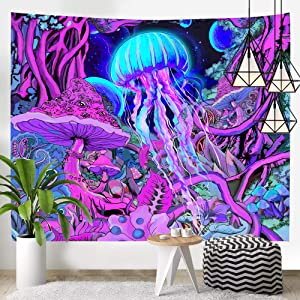Hexagram Trippy Tapestry Hippie Mushroom Art Tapestry Wall Hanging Magical Forest Fantasy Space Planet Tapestry Psychedelic Jellyfish Wall Tapestry for Bedroom Living Room Dorm Home Decor, 51x59 Inch