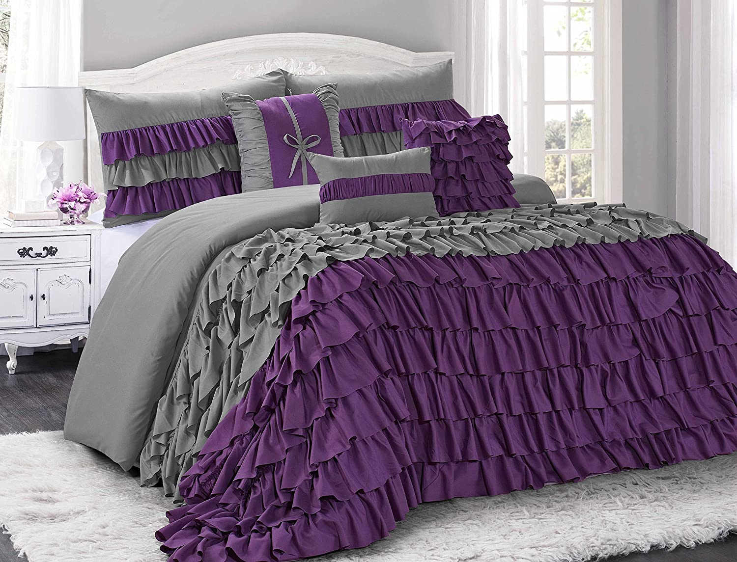 Amazoncom 7 Piece BRISE Double Color Ruffled Comforter SetQueen