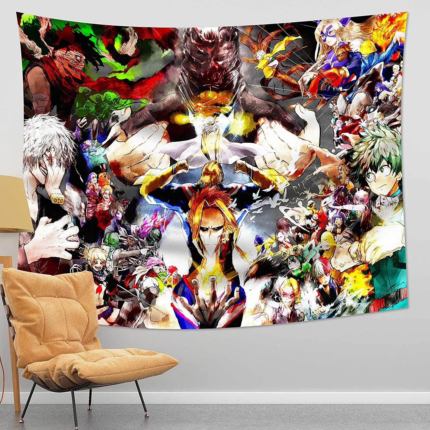 Cartoon Anime One Piece All Tapestry Wall Hanging Decoration for Apartment Home Art Wall Tapestry for Bedroom Living Room Dorm Fashion 50x60in (My_Hero_Academia Tapestry 2, 50x60in)