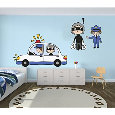 "e-Graphic Design Inc Police and Thief Vinyl Wall Paper Decal Art Sticker - Kids Room Decor for Home Interior Decoration Car Laptop (Wide 22"" x 9"" Height): Home & Kitchen"