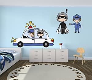 e-Graphic Design Inc Police and Thief Vinyl Wall Paper Decal Art Sticker - Kids Room Decor for Home Interior Decoration Car Laptop (Wide 22