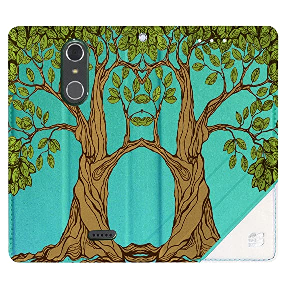 Infolio C Wallet Case For ZTE Grand X4 PU Leather TPU 2 Tone Card Slot  Magnetic Close Strap Mint White With Clear Gel (Living Tree)