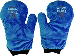 Hot and Cold Microwave Natural Therapy Mitten Gloves for Moist Hot and Cold Relief for Arthritis, Carpal Tunnel, Hand Finger Wrist Pain, Tendinitis and Soreness, with Thumb Usage (Azure, Medium)