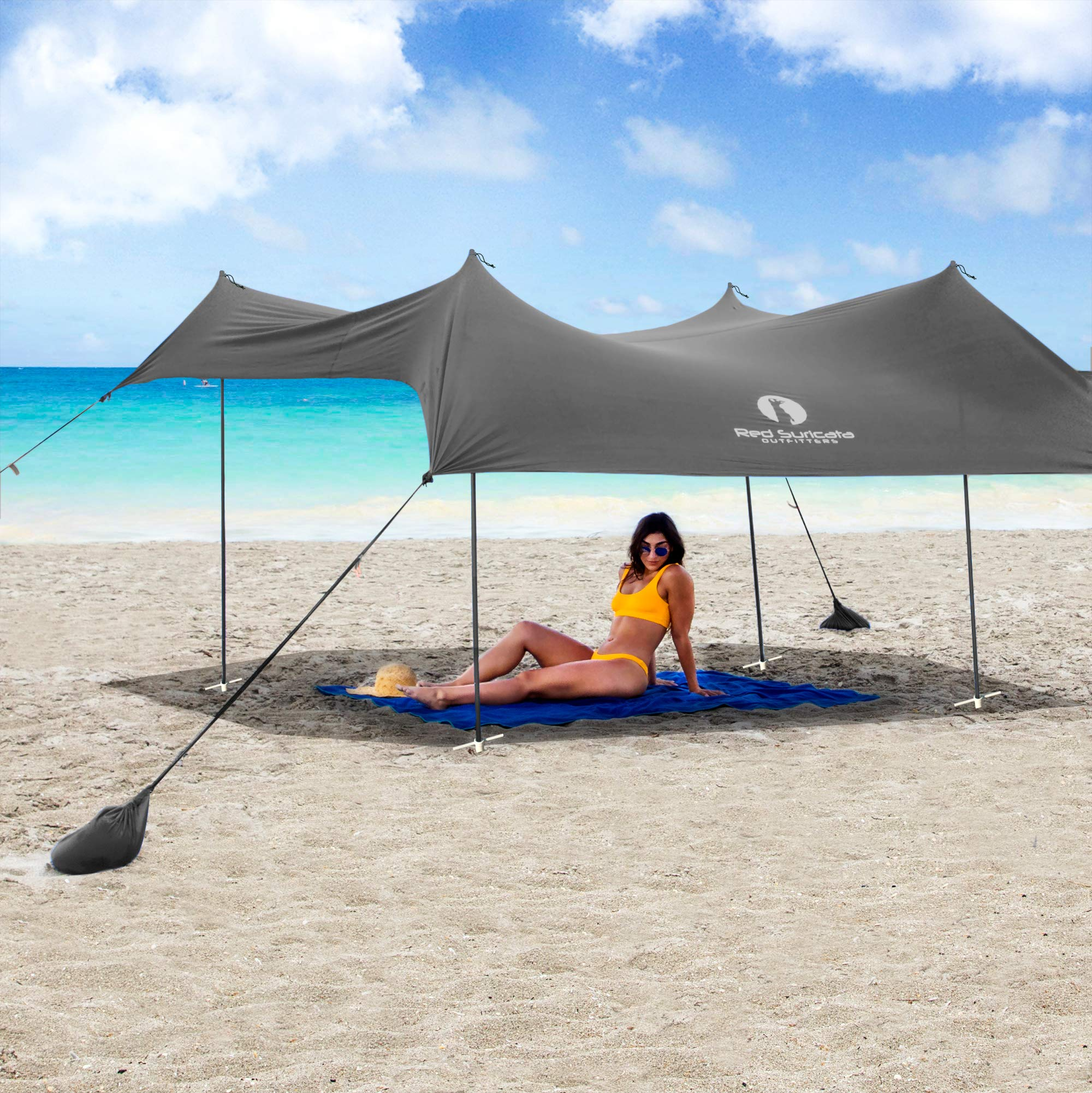 Red Suricata Family Beach Sunshade - Sun Shade Canopy | UPF50 UV Protection | Tent with 4 Aluminum Poles, 4 Pole Anchors, 4 Sandbag Anchors | Large & Portable Shelter Tarp (Grey, Large 10' x 9') by Red Suricata