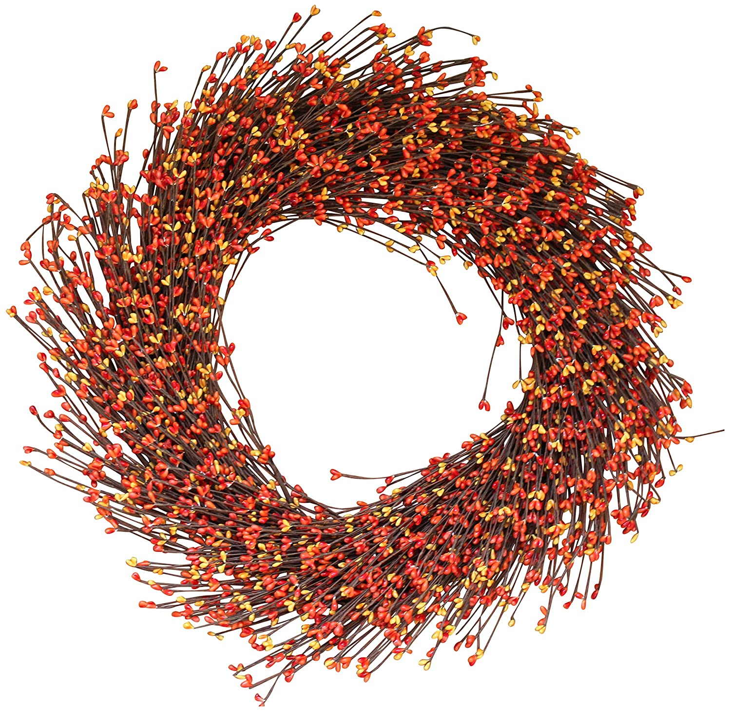 Claremont Fall Pip Berry Wreath 22 Inches - Brightens Front Door Decor with Vibrant Fall Colors, Approved for Covered Outdoor Use, with Beautiful White Gift Box The Wreath Depot