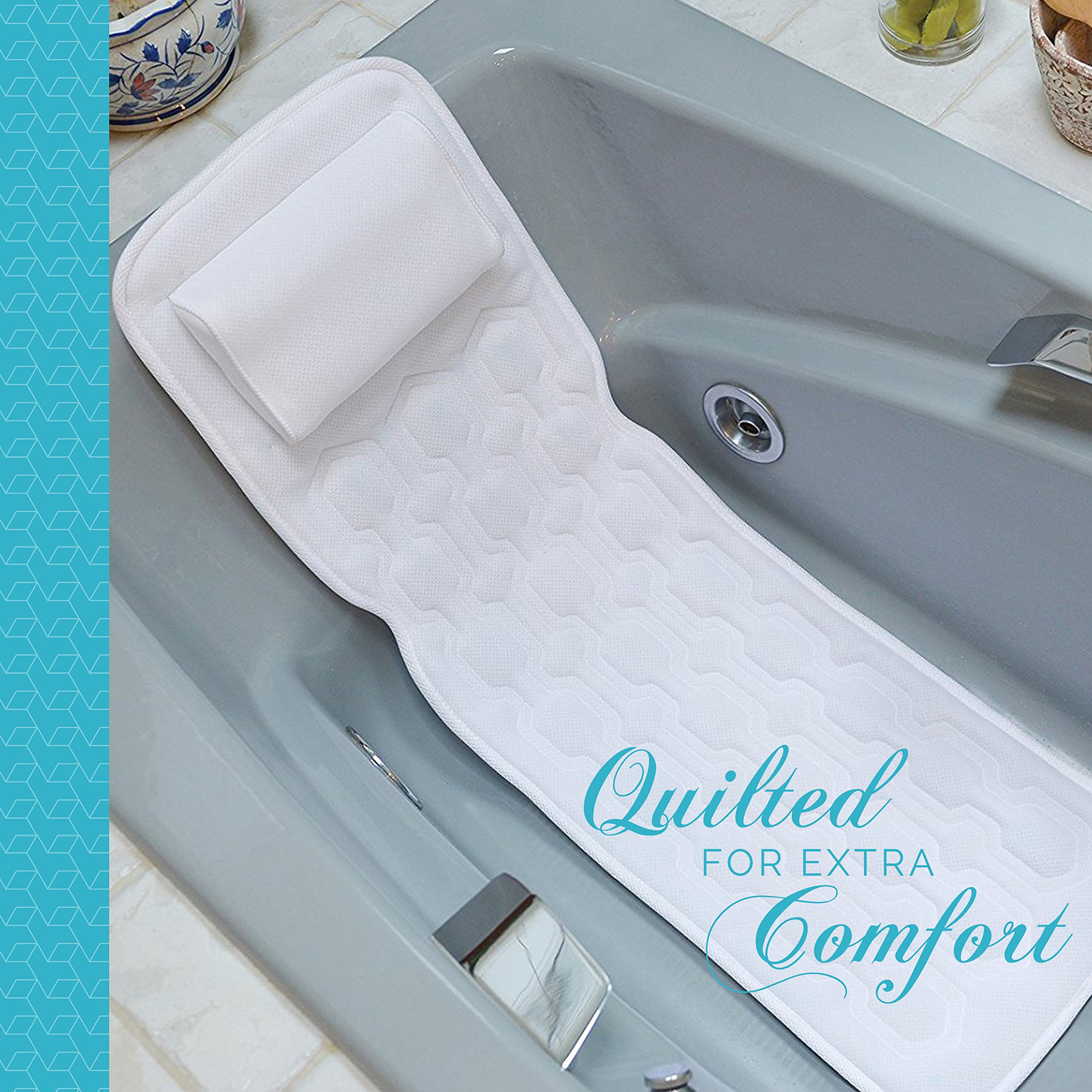 ComfySure Full Body Spa Bath Mattress Pillow - Soft Quilted Bathtub ...
