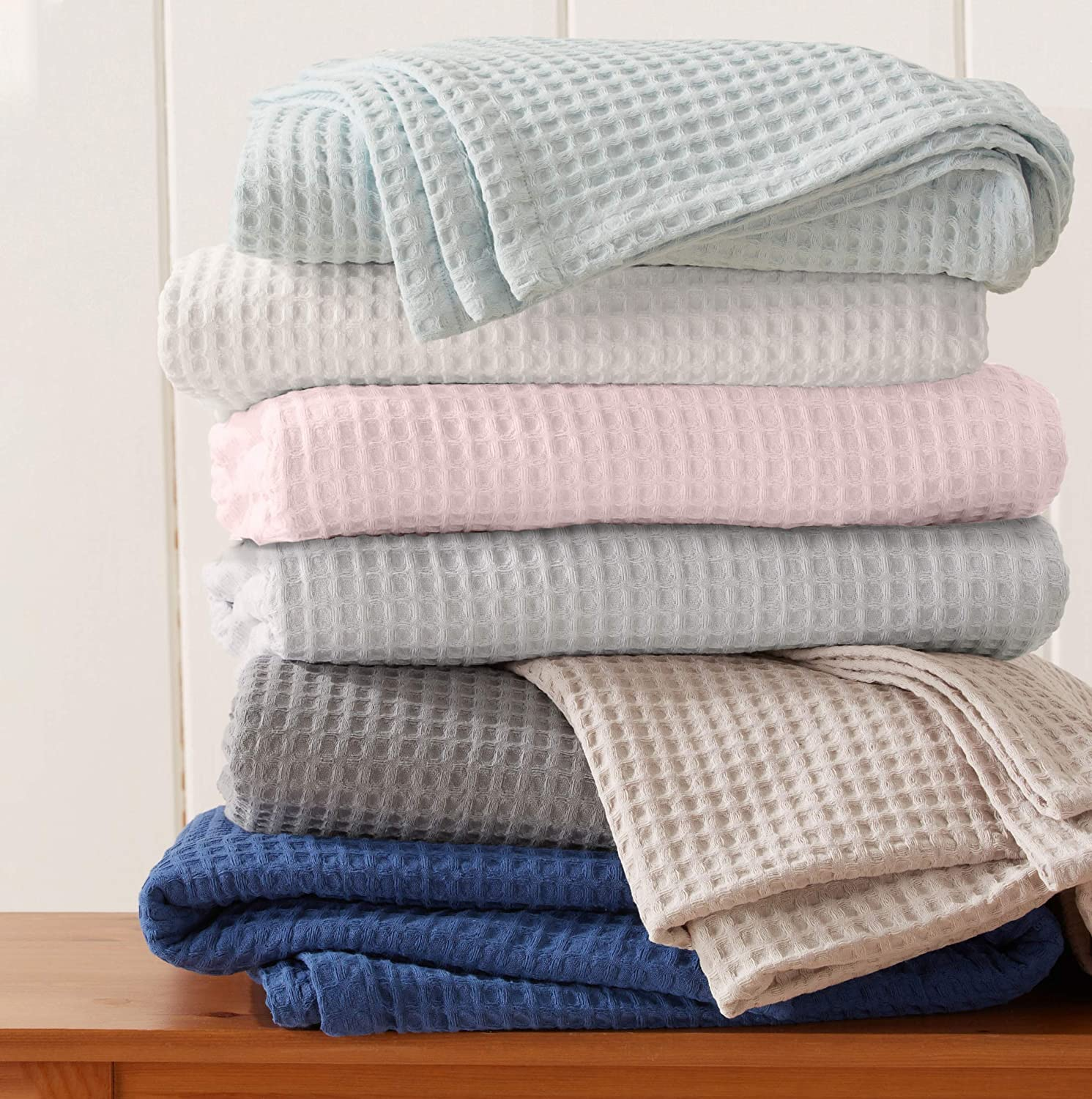 Great Bay Home 100% Cotton Waffle Weave Thermal Blanket. Super Soft Season Layering. Mikala Collection (Full/Queen, Navy)