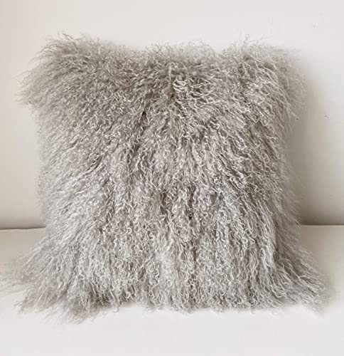 Gentle Nature 100 Real Mongolian Lamb Fur Curly Wool Pillow Cushion,Home Decorative Sheepskin Throw Pillow with Insert Included Light Gray, 18×18 Inch