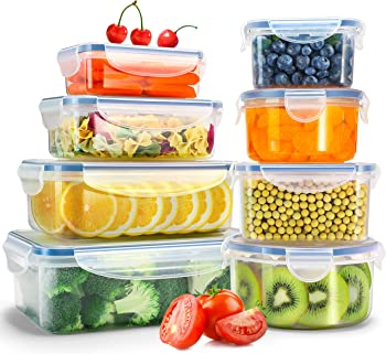 Veken 8-Pack Food Storage Containers with Airtight Lids
