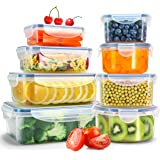 Veken Food Storage Containers with Airtight Lids, 8 Pack Plastic Reusable, Stackable Meal Prep Containers and Bento Lunch Boxes, Microwave, Freezer, Dishwasher Safe