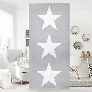 Flächenvorhang Set Große weiße Sterne auf grau Sterne weiß ...