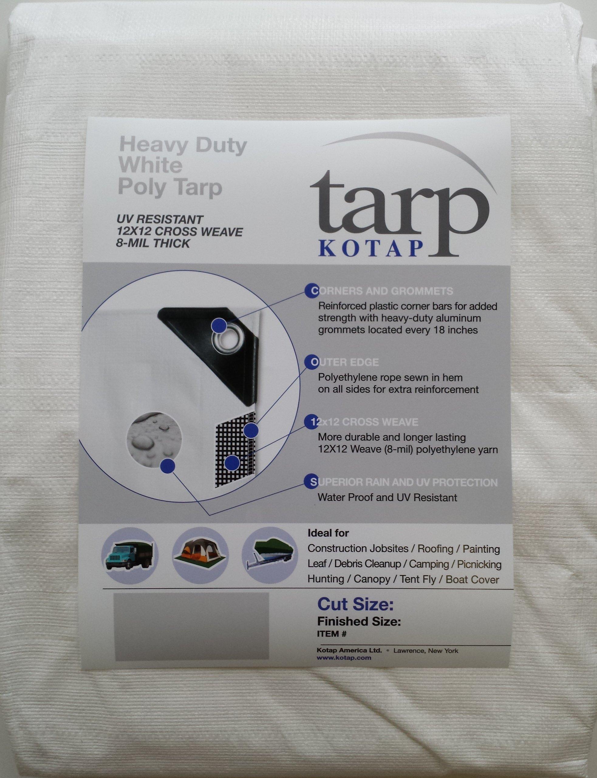 Kotap 30-ft x 50-ft Heavy-Duty 12 by 12 Cross Weave 8-mil White Poly Tarp, Item: TRW-3050 by Kotap