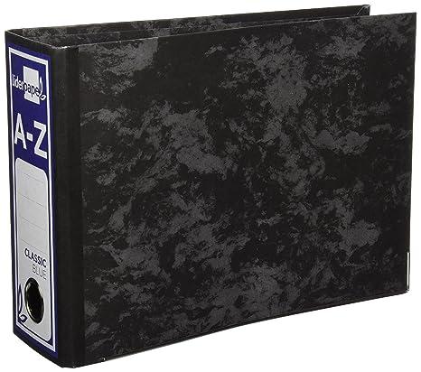Archivador De Palanca Carton Forrado Cuarto Apaisado Jaspeado Negro Sin Caja Classic Azul
