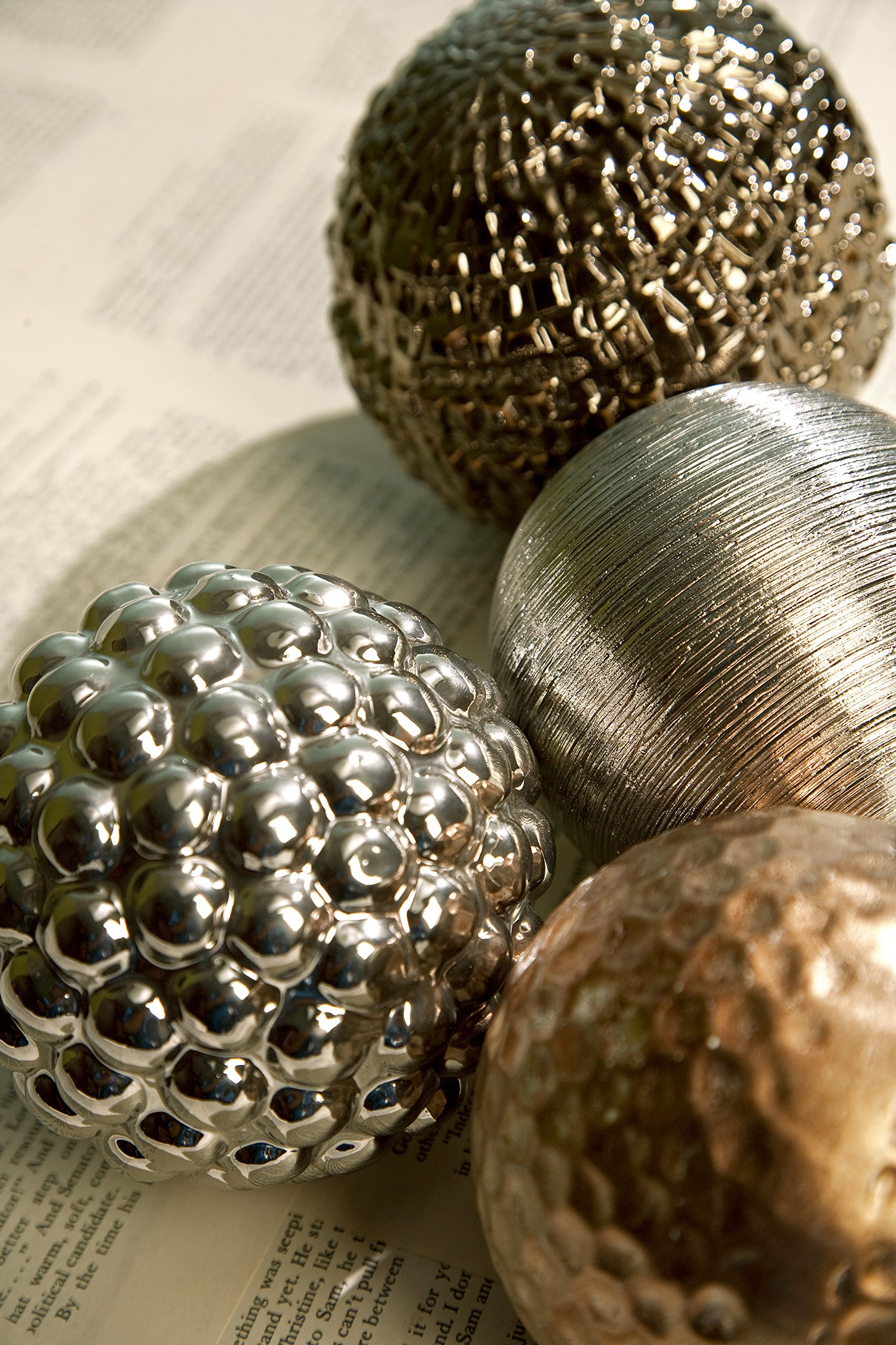 Imax 1589-4 Metallic Finished Orb Set – Handcrafted Spherical Balls, Ceramic Orbs for Decorative Purposes. Home Decor Accents