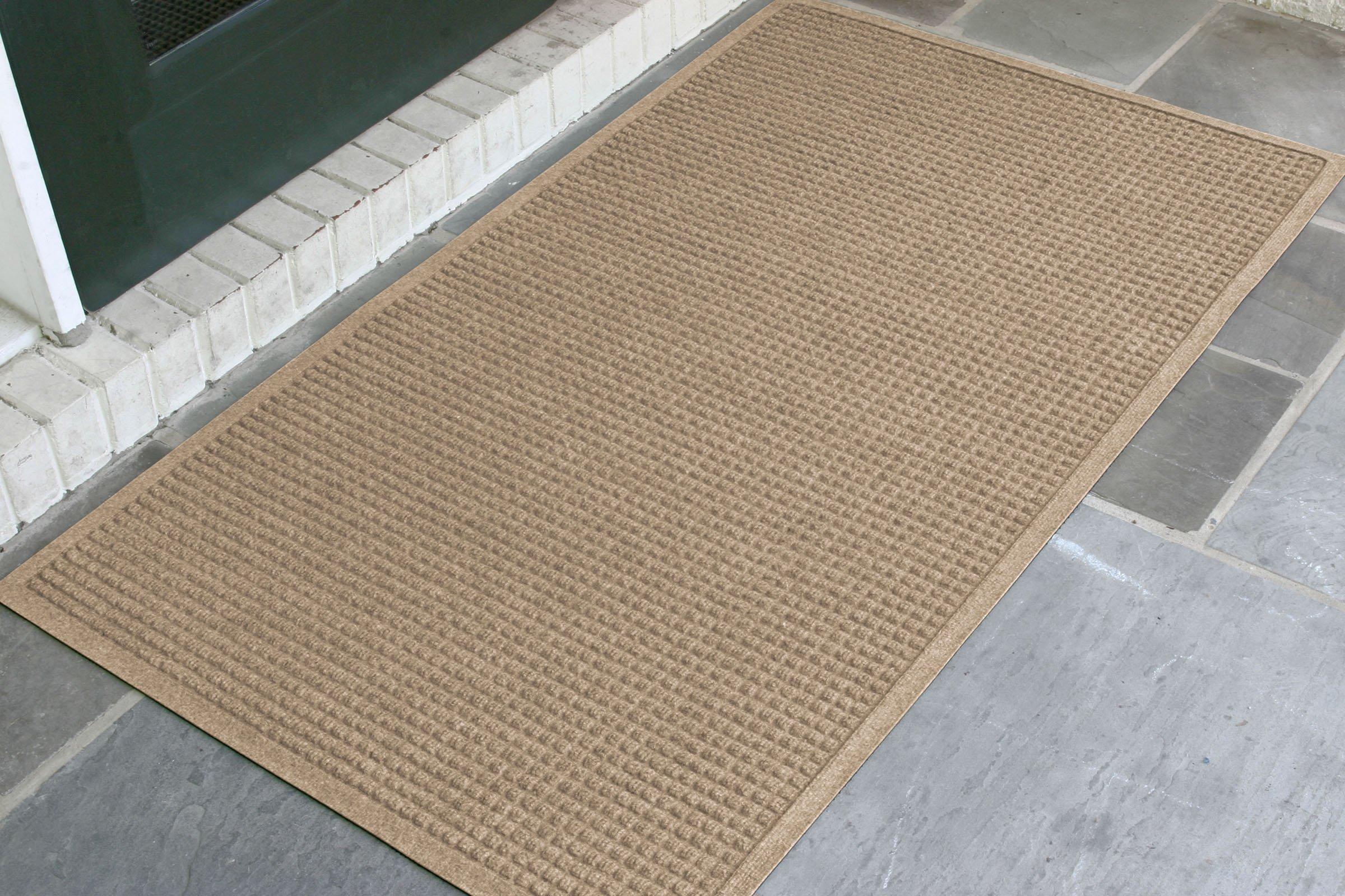 M+A Matting 280 Waterhog ECO Elite Polypropylene Entrance Indoor/Outdoor Floor Mat, SBR Rubber Backing, 5' Length x 3' Width, 3/8'' Thick, Camel by M+A Matting