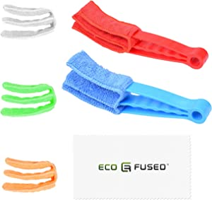 Eco-Fused Window Blind Cleaners - Includes 2 Clamps and 5 Removable Sleeves - Great Tool for Blinds, Shutters, Shades, Air Conditioner Vent Covers, etc. - Washable and Reusable