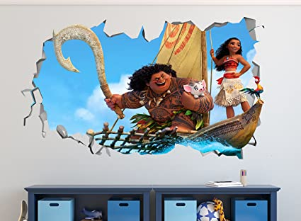 Amazon Com Moana Surf Smashed 3d Wall Decal Mural Art Kids Boy
