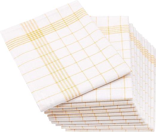 ZOLLNER 12 paños de Cocina Lino y algodón, 50x70 cm, Amarillos ...
