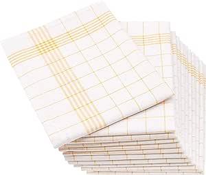 ZOLLNER 12 paños de Cocina Lino y algodón, 50x70 cm, Amarillos: Amazon.es: Hogar