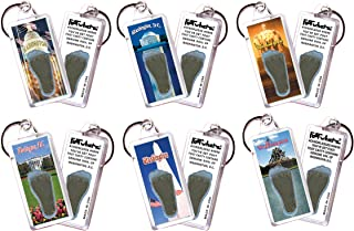 """product image for Washington, D.C.""""FootWhere"""" Keychains. 6 Piece Set. Authentic Destination Souvenir acknowledging Where You've Set Foot. Genuine Soil of Featured Location encased Inside Foot Cavity. Made in USA"""