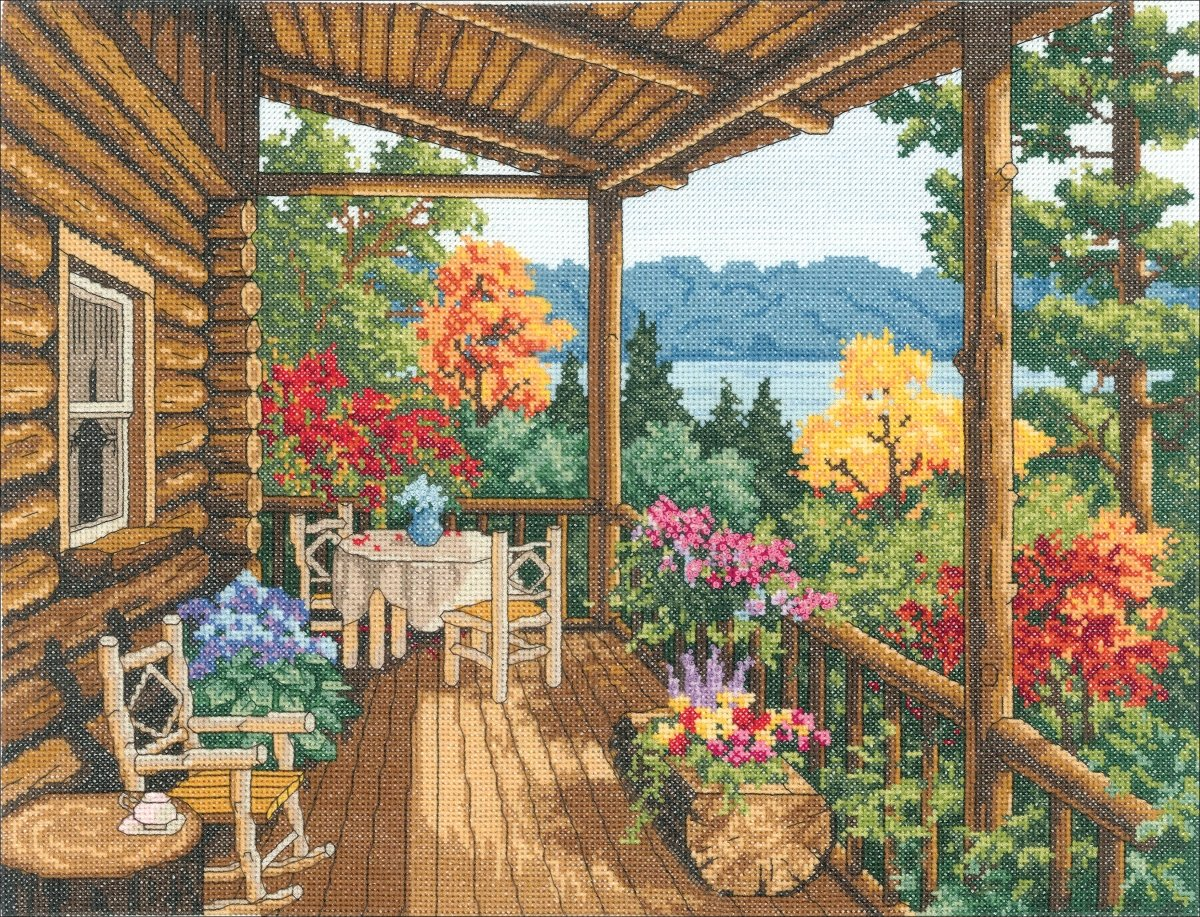 Log Cabin Covered Porch Counted Cross Stitch Kit-16X12 14 Count