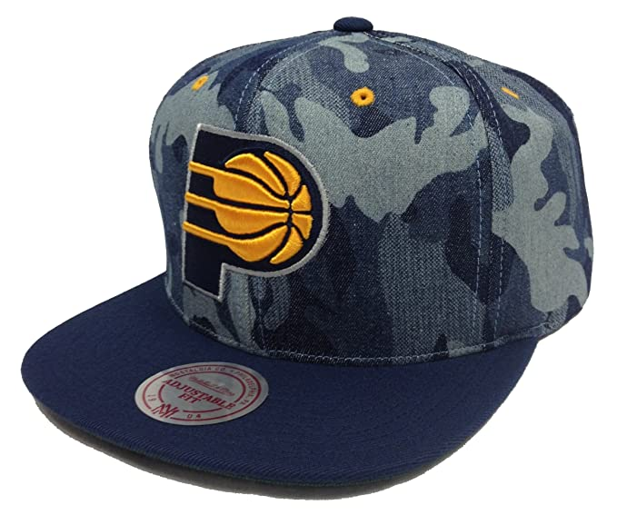 Amazon.com  Mitchell   Ness Camouflage Denim Indiana Pacers Snapback ... 7641904e272